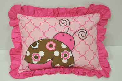 Lady Bugs Pink/Chocolate Dec Pillow