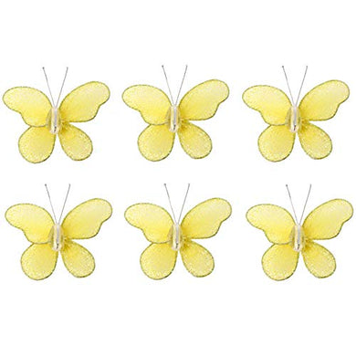 Butterfly Decor 2  Yellow Mini X-Small Glitter Nylon Mesh Butterflies 6 Piece Decorations Set Decorate Baby Nursery Bedroom Girls Room Wall Wedding Birthday Party Shower Crafts Scrapbooks Invitations