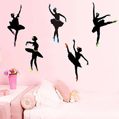 Wallpark Dancing Ballet Girl Ballerina Removable Wall Sticker Decal, Living Room Bedroom Home Nursery Decoration Adhesive Diy Art Wall Mural