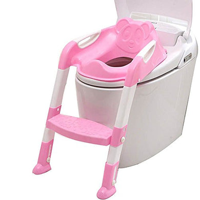 Baby Toddler Potty Toilet Trainer Safety Seat Chair Step With Adjustable Ladder Infant Toilet Training Non-Slip Folding Seat - Pink