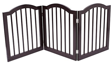 Internet'S Best Pet Gate With Arched Top | 3 Panel | 24 Inch Step Over Fence | Free Standing Folding Z Shape Indoor Doorway Hall Stairs Dog Puppy Gate | Fully Assembled | Espresso | Mdf