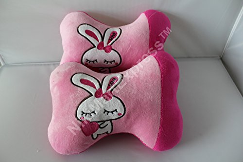 2Pcs Cute Rabbit Bunny Cartoon Plush Auto Car Seat Headrest Neck Rest Cushion Pillow