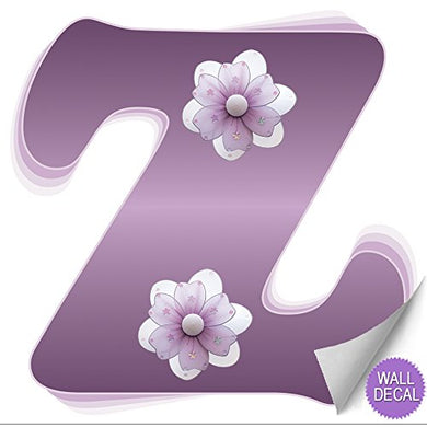 Wall Letters Z Purple Flower Letter Stickers Alphabet Initial Vinyl Sticker Kids Decals Children Room Decor Baby Nursery Girl Bedroom Decorations Child Names Personalized Decal Graphic Daisy Flowers