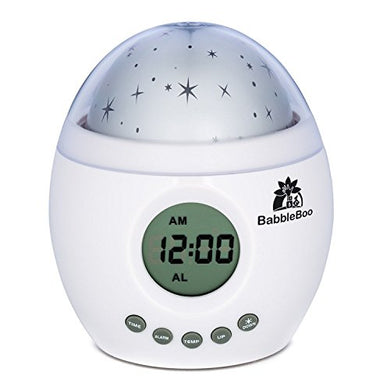 Babbleboo Baby Night Light Lamp &Amp; Children Bedroom Alarm Clock Star Projector With Mp3 Player, Nursery Nature Sounds &Amp; Soothing Womb Simulation Feature For Children &Amp; Infants - 7 Sounds