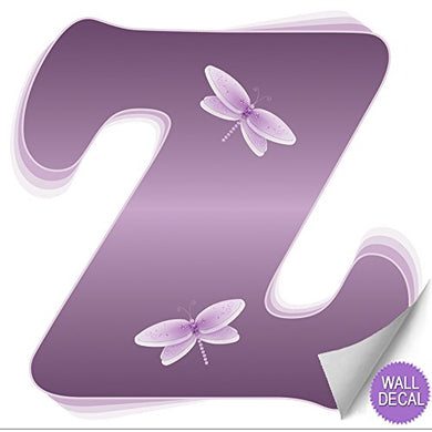 Z Purple Dragonfly Alphabet Letter Name Wall Sticker Baby Nursery Girls Room Decor Decoration