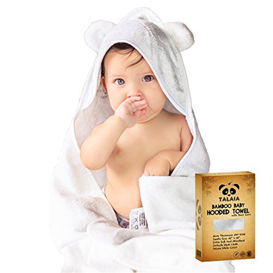 Talaia 2Pc Baby Bath Gift Set For Newborns, Infants & Toddlers | Natural Antibacterial, Hypoallergenic Bamboo Child'S Hooded Towel Robe With Bear Ears + Extra Soft Organic Bathing Washcloth
