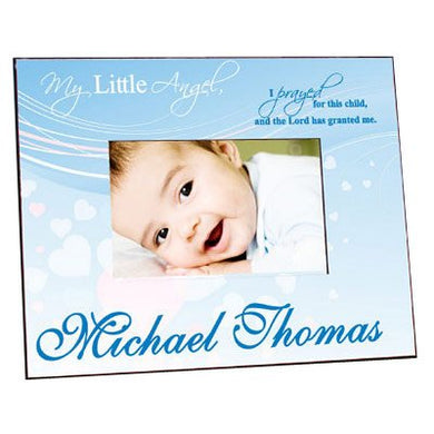 Personalized My Little Angel Blue Printed Frame, Holds A 3.5  X 5  Or 4  X 6  Photo