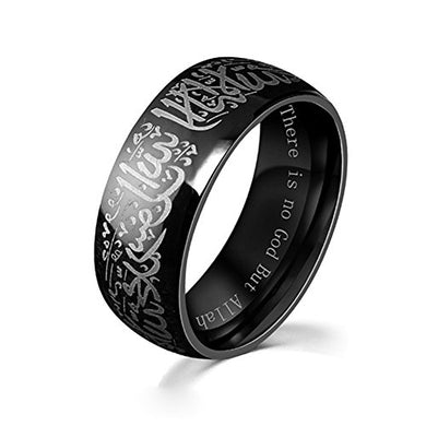 Chryssa Youree Men Women'S 8Mm Black &Amp; Gold Plated Stainless Steel Ring Muslim Jewelery Band With Shahada 7 To 12 (Szz-024) (Size 9, Black)