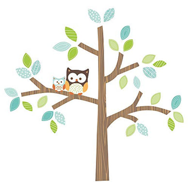Bedtime Originals Friendly Forest Brown Tree With Owls Wall Decals/Appliques