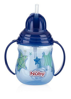 Nuby Designer Series No Spill Flip N' Sip Twin Handle Cup With Weighted Straw, 9 Oz - Colors May Vary