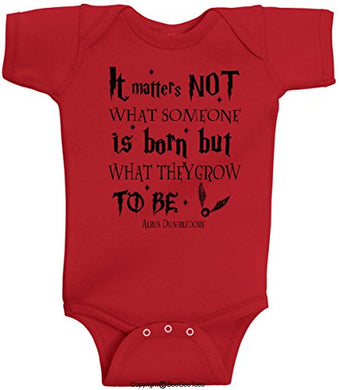 It Matters Not What Someone Is Born But What They Grow To Be Albus Dumbledore Wizard Romper Wizard Onesie By Beegeetees (12 Months, Red)