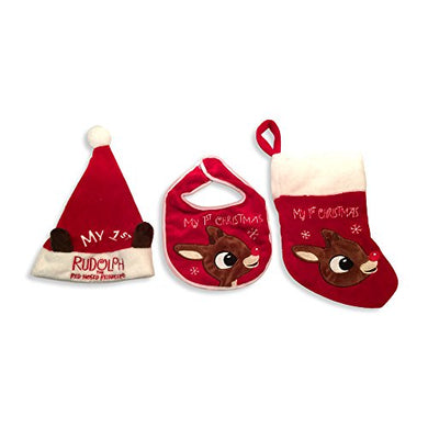 Baby'S First Christmas Rudolph The Red-Nosed Reindeer Bib, Hat, And Stocking Set