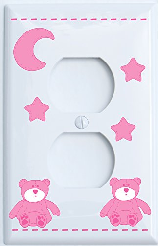 Pink Teddy Bear Outlet Cover Switch Plate With Pink Moon And Stars / Teddy Bear Nursery Decor (Outlet Cover)