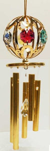 24K Gold Plated Wind Chime Sun Catcher Or Ornament..... Small Ball With Mixed Color Swarovski Austrian Crystal