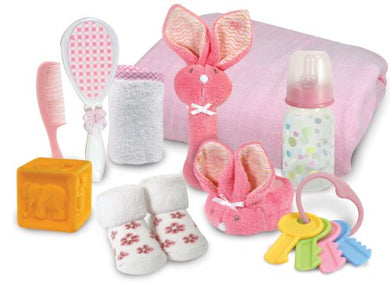 Stephan Baby Boo Bunnie Rattle And Swaddle Blanket Soothe And Amuse Gift Set, Pink