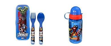 Marvel Avengers Flatware Go Pak With Case And 15.5Oz Water Bottle Set