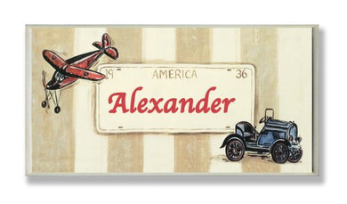 The Kids Room By Stupell Alexander, America License Plate With Plane And Automobile Rectangle Wall Plaque