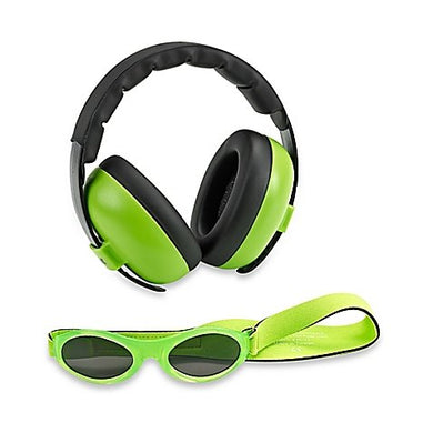 Baby Banz Earmuffs And Infant Hearing Protection And Sunglasses Combo 0-2 Years (Lime)