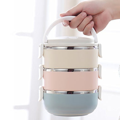 Sealive Stackable Stainless Steel Round Lunch Box, Baby Food Storage Lunch Containers Boxes For Kids, 3 Compartment Snack Soup Hot Food Insulated Container For Travel School Outdoors