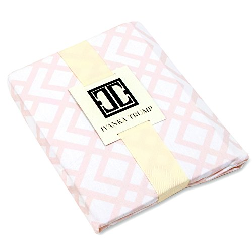 Ivanka Trump Wildflower Collection: Nursery Bedding Baby Crib Bedding Fitted Sheet 100% Cotton 200 Thread Count - Pink And White Trellis