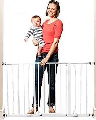 Easy Open Super Wide Walk Thru Baby Pet Gate White