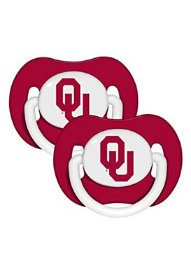 Oklahoma Sooners Set Of 2 Red Pacifiers New In Packaging