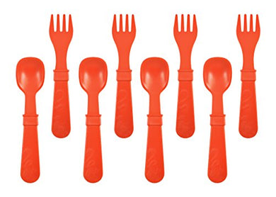 Re-Play Made In The Usa 8 Count Spoon And Fork Utensil Set For Baby And Toddler - Red