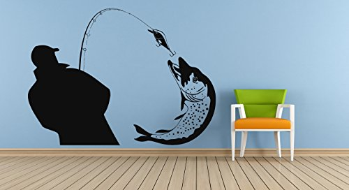 Wall Vinyl Sticker Decals Mural Room Design Decor Pattern Fish Fishing Rods Man Sea Lake Hobby Mi405