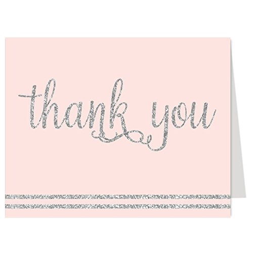 It'S A Girl, Thank You Cards, Pink, Silver, Glitter, Girls Baby Shower, Birthday Or Bridal Shower, Set Of 50 Folding Notes With Envelopes, (Pink/Silver)