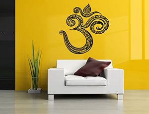 Removable Vinyl Sticker Mural Decal Art Decor Om Stamp Religious Word Hieroglyphics Yoga Studio Business Poster Peace Meditation Sign Sa146