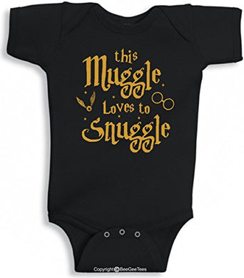 Beegeetees This Muggle Loves To Snuggle Funny Wizard Inspired Baby Wizard One Piece (6 Months, Gold Ink)