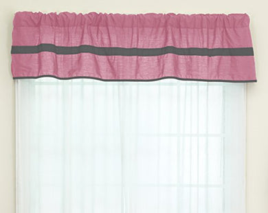 Baby Doll Bedding Solid Stripe Window Valance, Pink/Grey