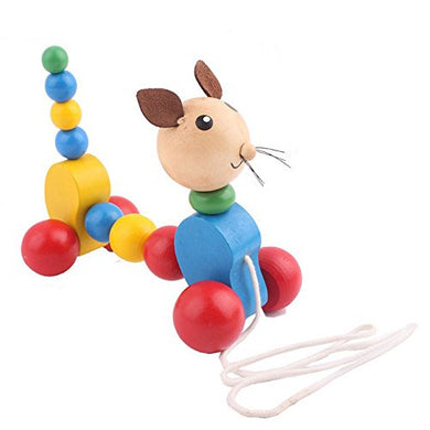 Wooden Ring Puppy Drag Kids Push Pull Toys Animals Drag Hand Rope Sound Toys Perfect Educational Toy Walking Walker For Toddler