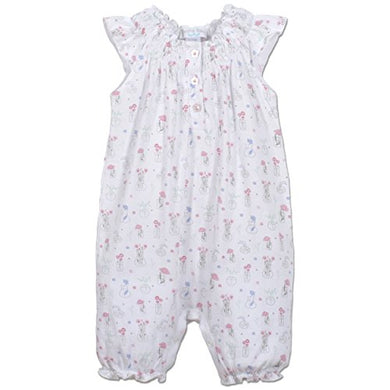 Feather Baby Girls Clothes Pima Cotton Angel Sleeve One-Piece Shortie Sunsuit Bubble Baby Romper, 6-9 Months, Vase Floral On White