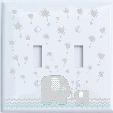 Grey And Green Dandelion Elephant Light Switch Plates Covers/Double Toggle/Elephant Nursery Decor (Seafoam Green Double Toggle)