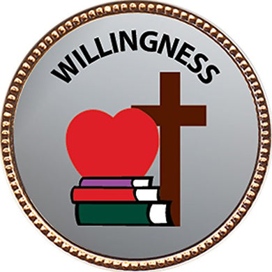 Willingness Award, 1 Inch Dia Gold Pin  Character Studies Collection  By Keepsake Awards