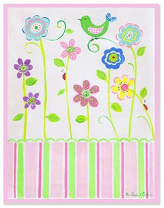 The Kids Room By Stupell Green Bird On Flower Rectangle Wall Plaque