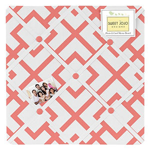 Coral Mod Diamond Geometric Print Fabric Memory/Memo Photo Bulletin Board