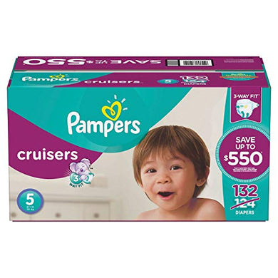 Pampers Cruisers Baby Diapers Size 5 3-Way Fit Adapts At The Waist, Legs, And Bottom Economy Pack Plus 132 Count By Watchy Shop