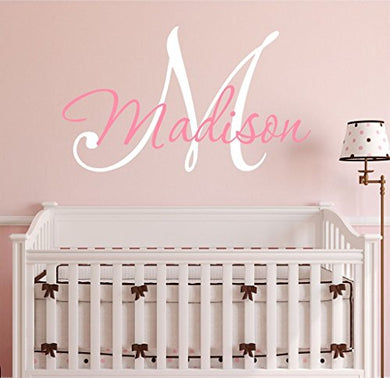 Nursery Custom Name And Initial Wall Decal Sticker 23  W By 17  H, Girl Name Wall Decal, Girls Name, Wall Decor, Personalized, Girls Name Decor, Nursery Bedroom Baby Decor Plus Free Hello Door Decal