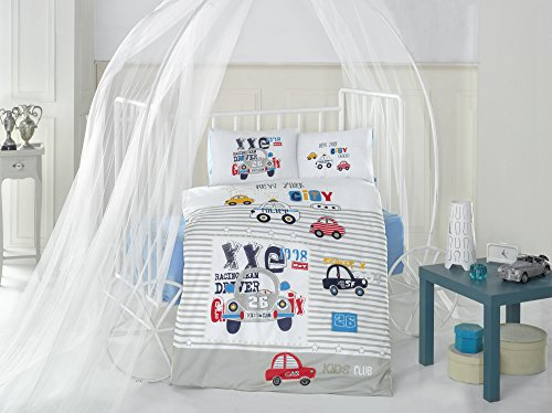 New York City Car - 100% Cotton Baby Duvet Cover Set  Made In Turkey - Blue - 5 Pieces, Comforter Included (5 Pcs)