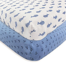 Load image into Gallery viewer, Hudson Baby Cotton Fitted Crib Sheet, 2 Pack, Whale