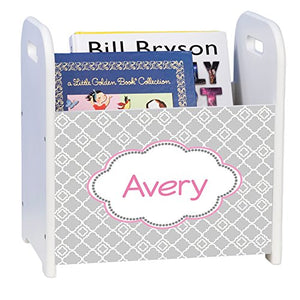 Personalized Gray Florets W Pink White Book Caddy And Rack