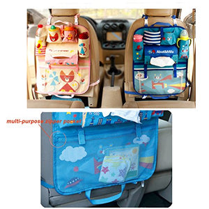 Car Backseat Organizer Kick Mats - Auto Seat Back Protector Kids Toy Storage Lion