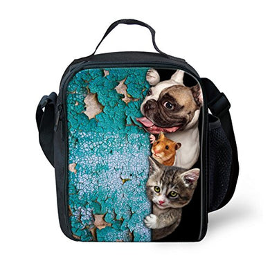 For U Designs Kawaii Animal Dog Printing Teen Girls Boys Thermal Lunchbag With Water Bottler Pouch