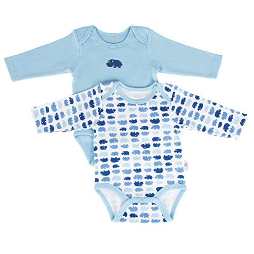Tadpoles Set Of Two Bodysuits, Hippo / Blue, 0-6 Months