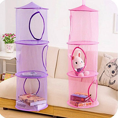 Orangetag Hanging Mesh Space Saver Bags Organizer 3 Compartments Toy Storage Basket For Kids Room Organization Mesh Hanging Bag 2 Pcs Set , Random Colors