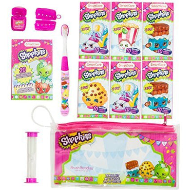Shopkins Travel Kit: Toothbrush, Toothbrush Cap, Bubble Gum Floss, 2-Minute Timer, 6 2-Ply Pocket Tissues And 20 Sterile Adhesive Bangages.Gift Set