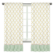 Load image into Gallery viewer, Ruffled Mint Coral White And Gold Trellis Girls Window Treatment Panels For Ava Bedding Collection - Set Of 2