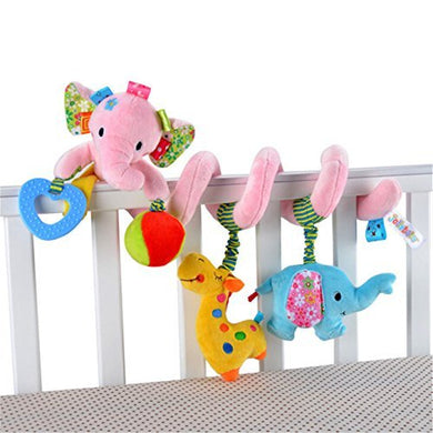 Baby Toddler Car Bed Stroller Hanging Animal Pink Elephant Spiral Activity Toys